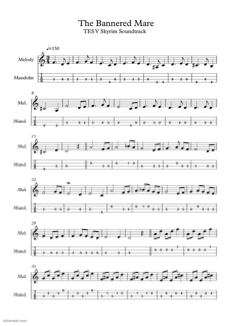 TES V: Skyrim - The Bannered Mare - mandolin music sheet with tabs