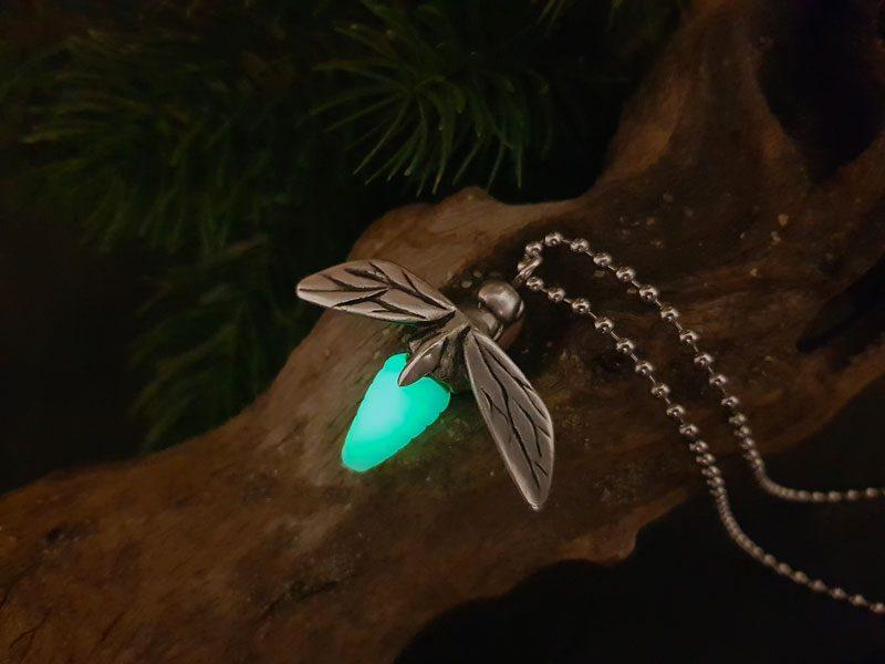 Skyrim's glowing Torchbug - metal pendant